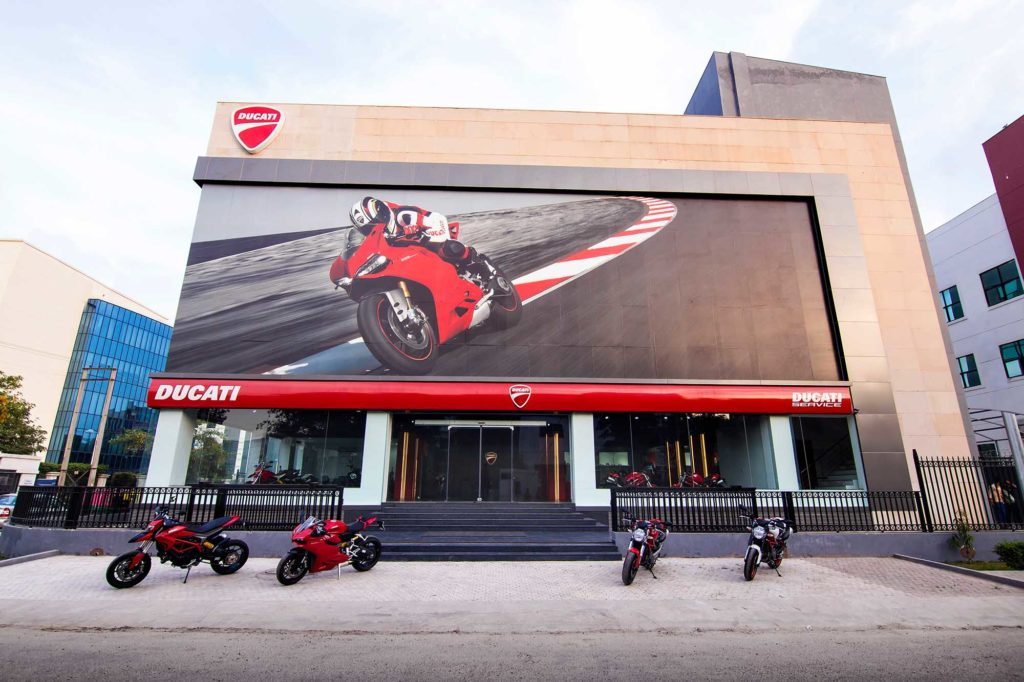 Architecture photographer Ducati Showroom Gurgaon NCR wordls biggest showroom
