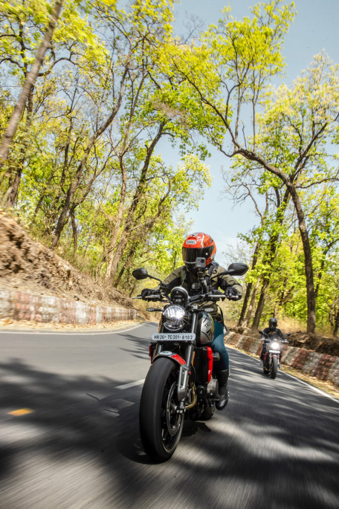 Trident 660 Media Ride India Launch in forests under blue sky